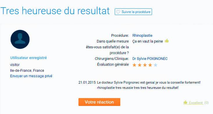 Le docteur Sylvie Poignonec est géniale vous la conseille fortement, rhinoplastie très réussie heureuse