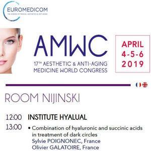 AMWC le Congrès mondial de la médecine esthétique et anti-âge au Grimaldi Forum Monte Carlo du 4 au 6 avril 2019. Il présente l'actualité de Monaco et des entreprises internationales dans des domaines connexes, impliquant la dermatologie, les soins de santé, la beauté, la santé et la technologie médicale